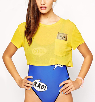 top cats yellow crop tops pocket cute trendy fashion style streetstyle