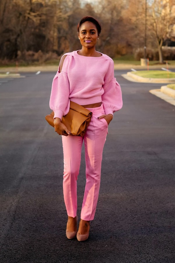 the daileigh t-shirt pants shoes bag cut-out shoulder sweater cut out shoulder pink sweater cropped sweater pink pants clutch brown clutch pink lipstick platform pumps pumps pink pumps high heel pumps