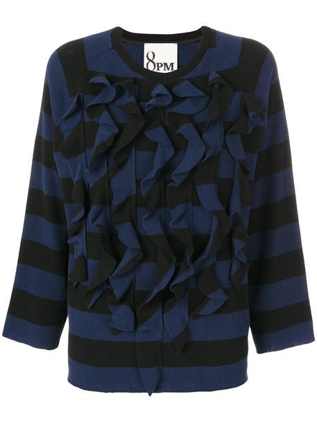 8pm - ruffled striped knit pullover - women - Cotton/Polyamide/Polyester/Polyacrylic - M, Black, Cotton/Polyamide/Polyester/Polyacrylic