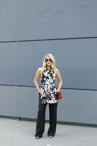 miss lyle style blogger top bag pants sunglasses