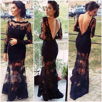 Real sample sexy black lace v back mermaid see through evening dresses with long sleeves women prom party gown lace
