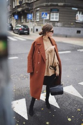 coat,tumblr,brown coat,long coat,oversized,oversized coat,sweater,knit,knitted sweater,bag,boots,black boots