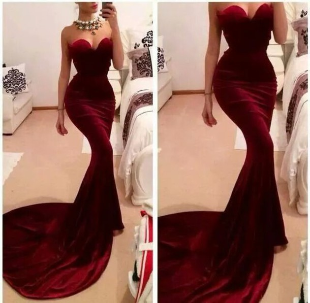 Aliexpress.com : Buy Custom Made Dark Red Mermaid Evening Dress 2014 Hot Burgundy Sweetheart Long Elegant Prom Dresses from Reliable dresses china suppliers on 27 Dress