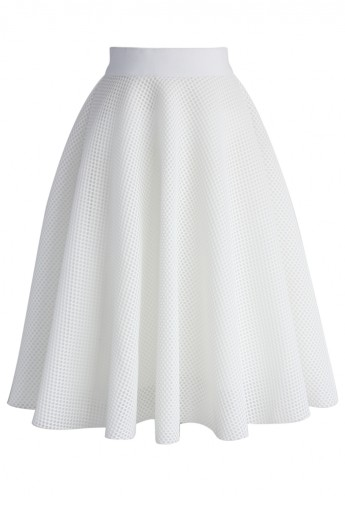 White Mesh A-line Midi Skirt - Retro, Indie and Unique Fashion