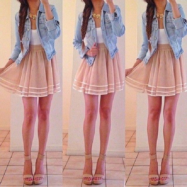 Apricot Elastic Waist Cascading Ruffle Lace Skirt