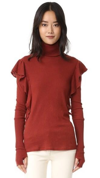 turtleneck ruffle sweater
