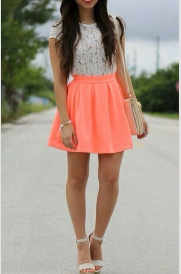skirt bright coral top shoes skater skirt hair