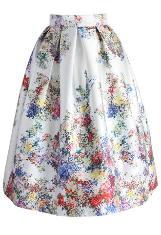 skirt pixel flowers midi skirt in pearl-white chicwish printed skirt floral skirt chicwish.com floral shoes white floral short dress