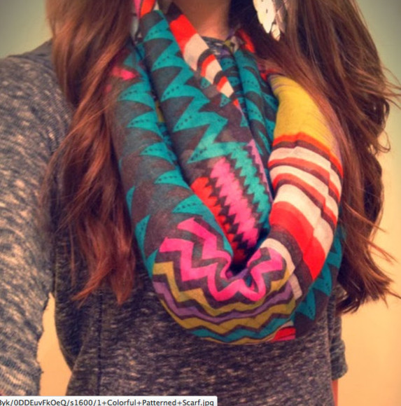 bright colorful scarf winter circle scarf infinity scarf