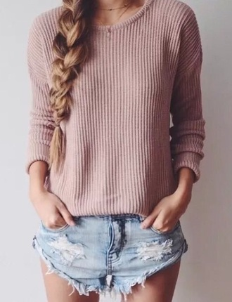 sweater coral cropped round neck pullover loose fit sweater