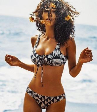 swimwear amuse society kesler tran photographer model black and white bikini bikini black and white lace up cheeky geometric aztec bikini aztec swimwear designer designer swimwear taylor ashley