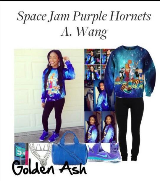 sweater space jam sweatshirt purple cartoon