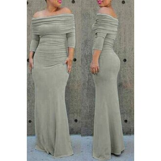 dress grey fashion off the shoulder sexy women's off the shoulder gray 3/4 sleeve dress trendy maxi dress long long sleeves rose wholesale-dec
