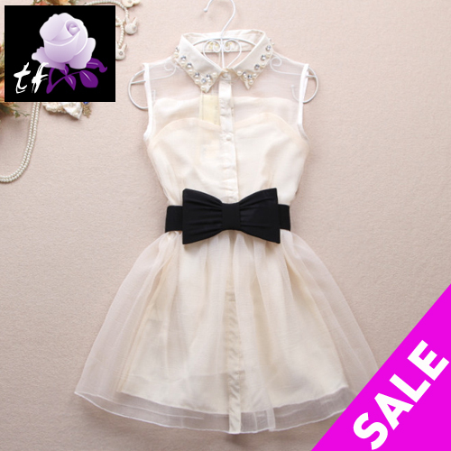 2013 novelty/silk/white/mini/lace puff/pearl/cute/hot selling/belt/bandage/backless/party/prom woman,girls' dress dresses brand