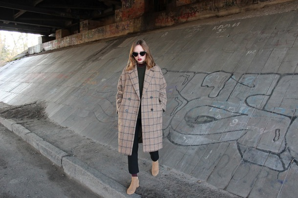 kristina magdalina blogger coat sunglasses shoes sweater winter outfits fall outfits ankle boots