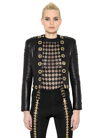 jacket leather jacket lace gold leather black