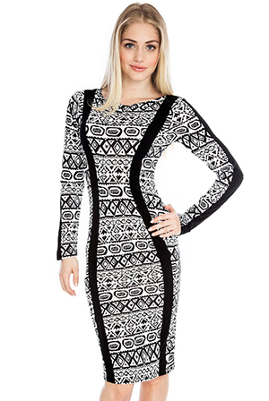 Tribal Print Long Sleeve Midi Dress
