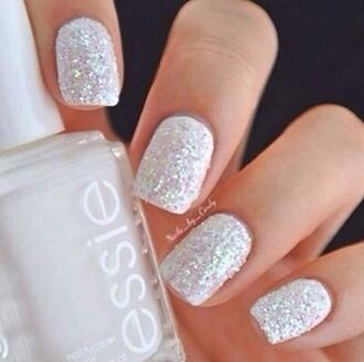 nail polish white sparkle holiday season pll ice ball girly wishlist essie hair/makeup inspo prom beauty
