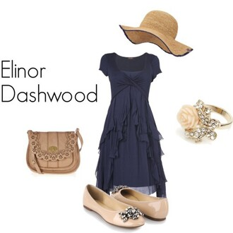 dress elinor dashwood dark blue nude flats dark blue tiered empire waist jane austen rose ring purse leather sun hat straw hat
