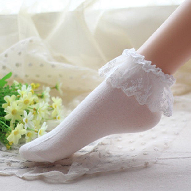 5 Color Vintage Lace Ruffle Frilly Ankle Socks Fashion Ladies Princess Girl Gift | eBay