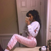 pants,sweats,pink,stripes,sweater,rose,long sleeves,shirt,brand,pink pants,silk,satin,joggers,sweatpants,light pink