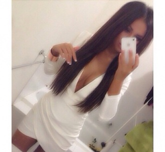 dress bodycon iphone white boob girl sexy weheartit mirror wrap white dress sexy dress
