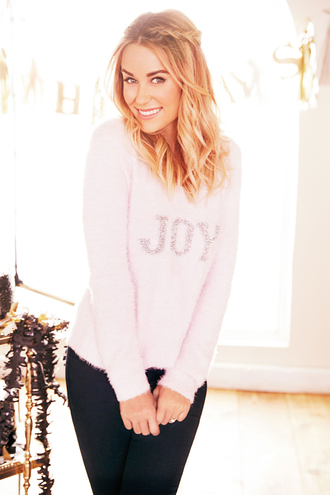 sweater lauren conrad pink winter sweater