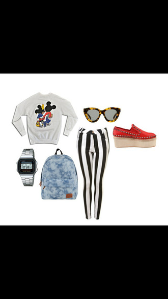 jewels striped pants sunglasses platform sneakers mickey mouse minnie mouse watch backpack