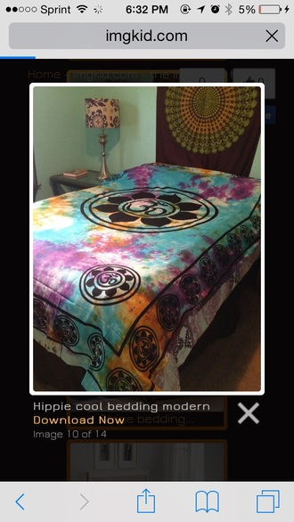 home accessory tye dye  comforter black and colorfu bedding tie dye