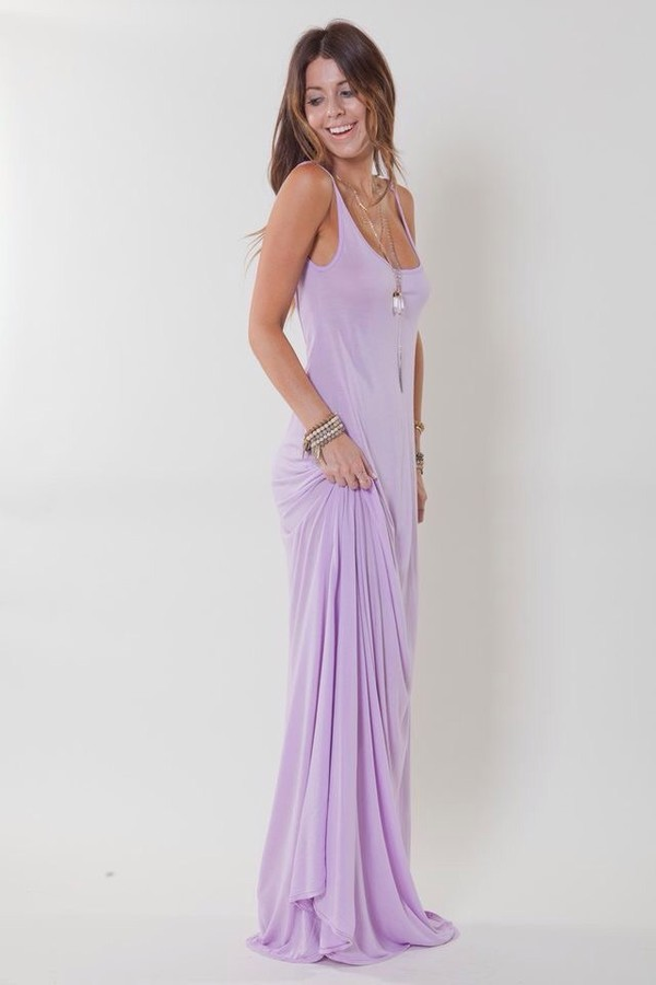 Dress: lilac, lavender, soft, summer, maxi, maxi dress, purple ...