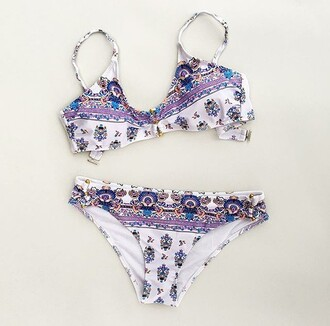 swimwear bikini pattern pastel cute bikini mandala paisley bikini top bikini bottoms