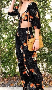 dress,two piece dress set,crop tops,low v front tie,black dress,polka dots,two piece outfit tropical set