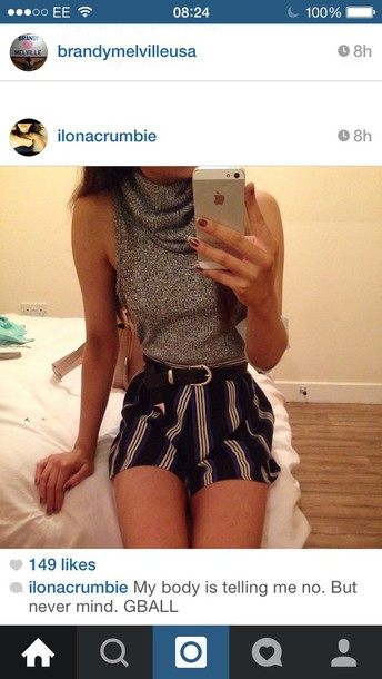 top grey knitted top high neck turtleneck turtle neck tank shorts