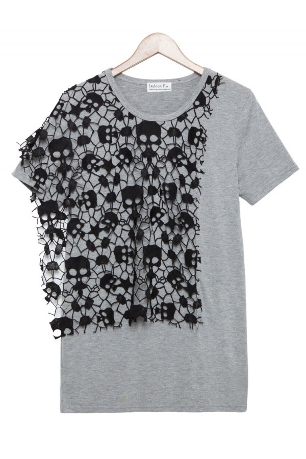 Kcloth two tone skull pattern casual tees in grey