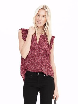 top ruffle print spring top ruffled top spring banana republic