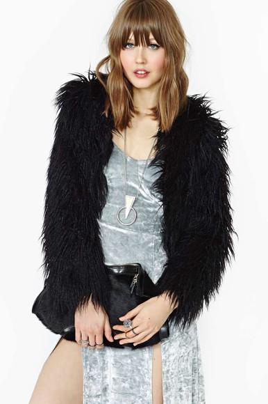 jacket fur coat faux fur cardigan grunge soft grunge fluffy indie necklace