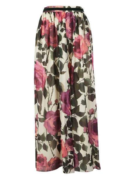Blugirl skirt pleated skirt pleated floral print beige multicolor