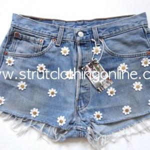 "Strut Clothing |   ""Daisy Stud"" Vintage Levi Denim Shorts, High Waist – Size 12"