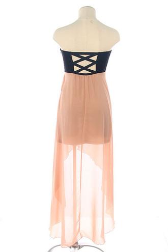 dress high-low tube dress black pink