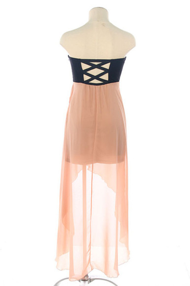 tube dress dress high-low black pink