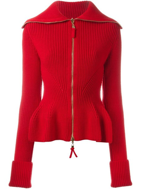 Alexander McQueen peplum zip-up cardigan, Women's, Size: XS, Red ...