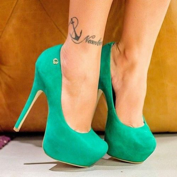 shoes anchor high heels turquoise green