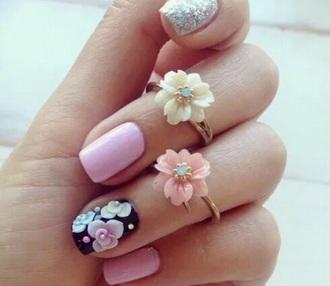 jewels flower jewelry flowers ring sliver gold floral rings cute must nails floral musthave