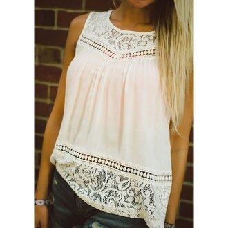 top white casual lace trendy summer fashion style cute rose wholesale-feb