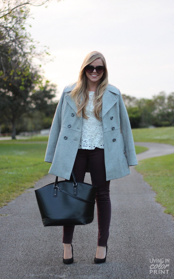 living in color print bag shoes coat