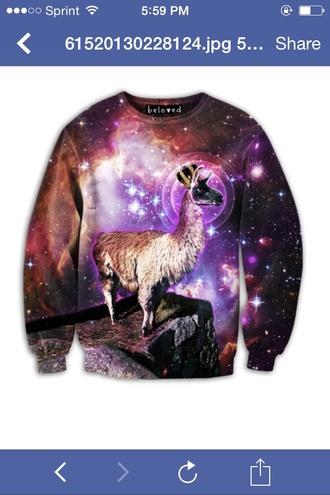 llama sweater space galaxy sweater random printed sweater