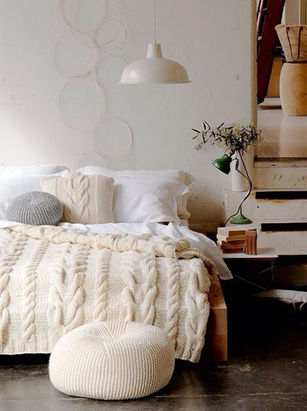knitted scarf warm bedspread ivory cozy beautiful home decor