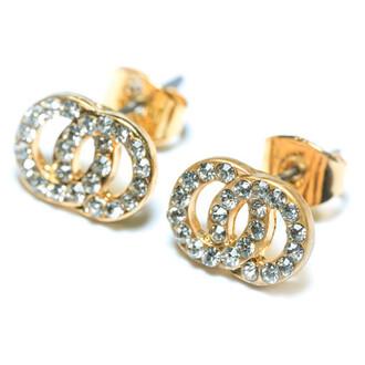jewels accessories bikini luxe jewelry crystal earrings dainty earrings double circle earrings double diamond circle earrings infinity earrings stud earrings bikiniluxe
