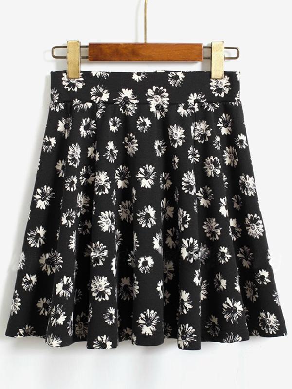 Black sunflower prints high waist a