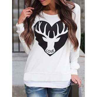 sweater cool black and white deer long sleeves casual scoop neck long sleeve printed loose-fitting sweatshirt for women trendy